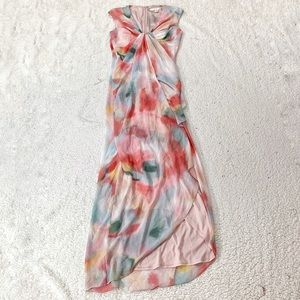 Boston proper watercolor drape front maxi dress